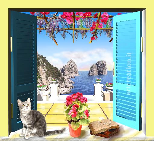 Finestra su capri con geranio bouganvillas e gatto ebay - Quadri con finestre ...