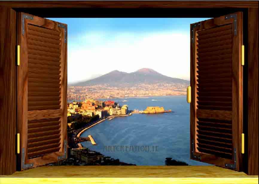 Trompe l oeil a scelta su tela 89 euro canvas printed for Disegno di finestra aperta