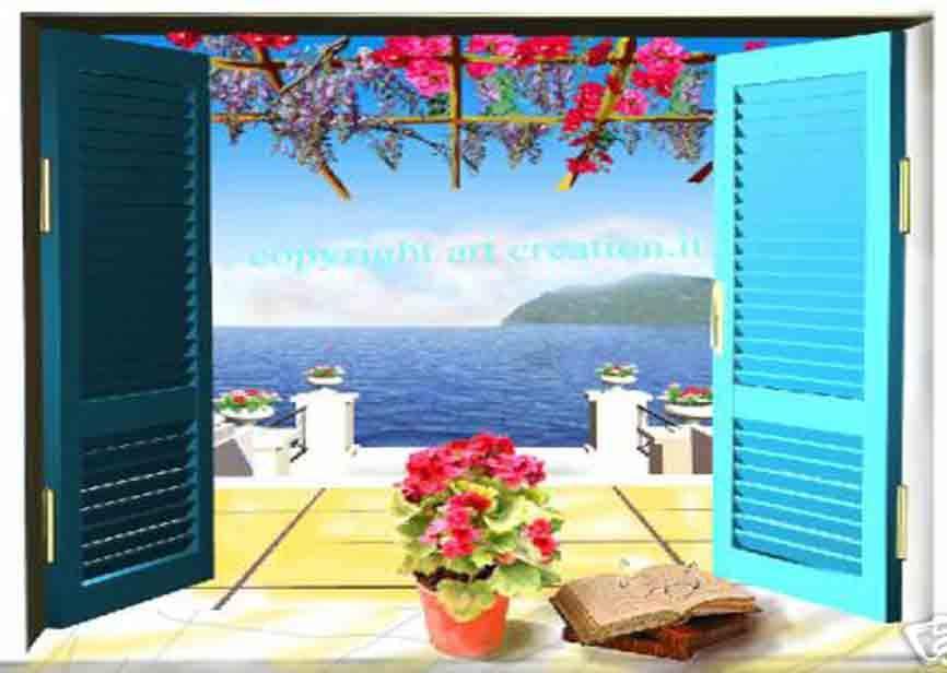 Trompe l oeil a scelta su tela 89 euro canvas printed ebay - Quadri con finestre ...
