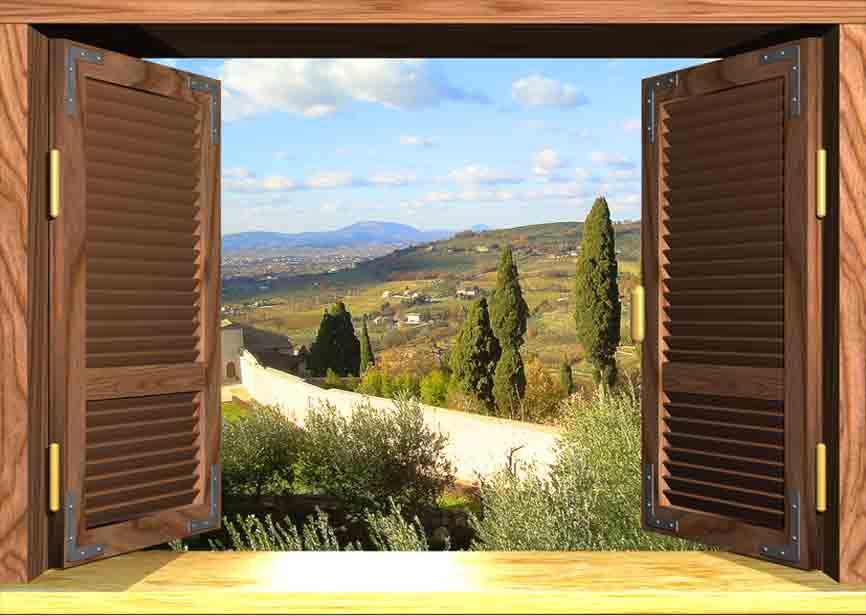 Trompe l oeil a scelta su tela 89 euro canvas printed telaio in regalo vero lg ebay - Trompe l oeil finestra ...